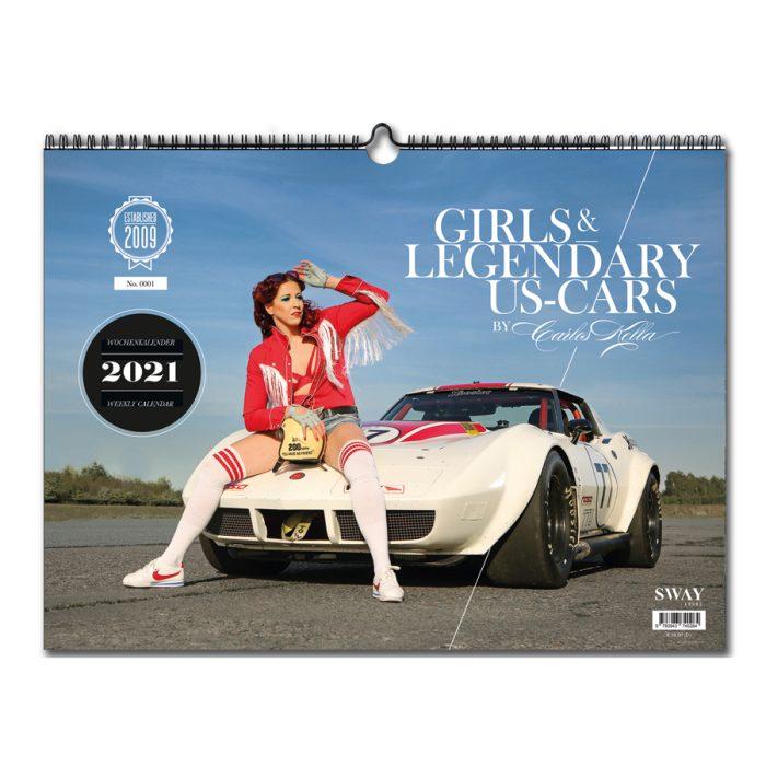 00 Kalender 2021 Girls&legendary US Cars Wochenkalender Sway Books Serag AG 0