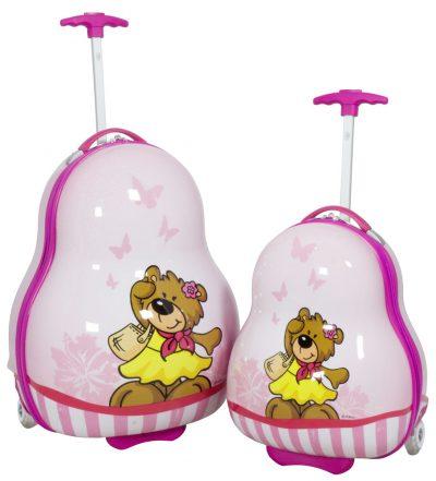 01 Kinderkofferset 2tlg Bär Pink