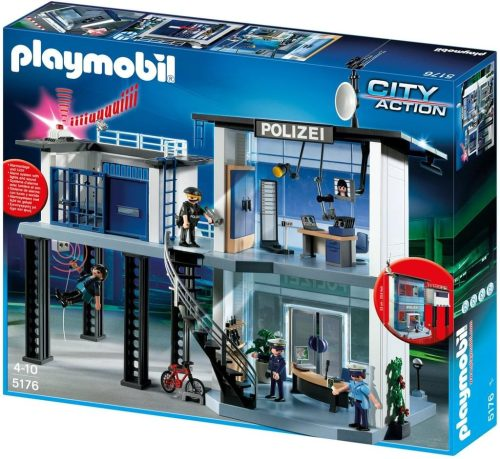 01 Playmobil 5176 Polizei Kommandostation Mit Alarmanlage
