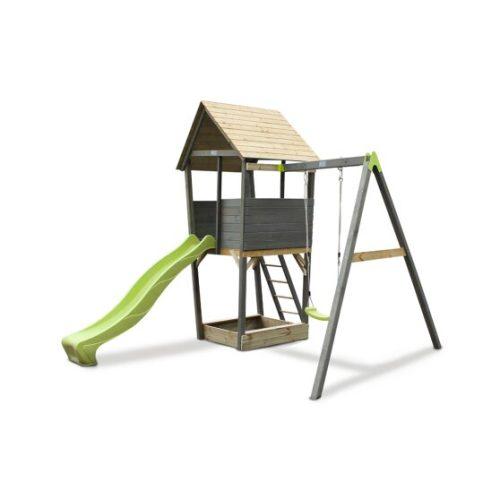 Holzspielturm Von EXIT Toys EXIT Aksent Mit 1 Sitziger Schaukel Grau 302x337x296cm Bei Serag AG 1