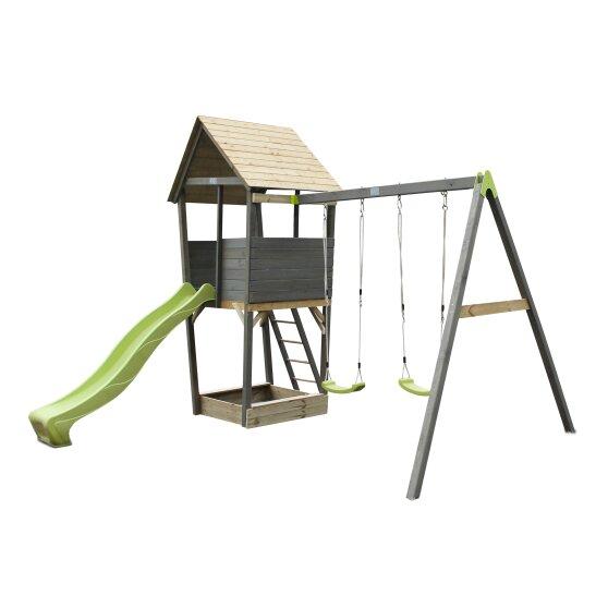 Holzspielturm Von EXIT Toys EXIT Aksent Mit 2 Sitziger Schaukel Grau 397x337x296cm Bei Serag AG 1