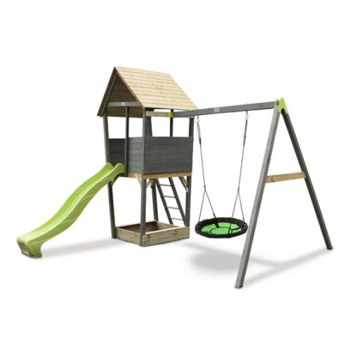 Holzspielturm Von EXIT Toys EXIT Aksent Mit Nestschaukel Grau 397x337x296cm Bei Serag AG 1