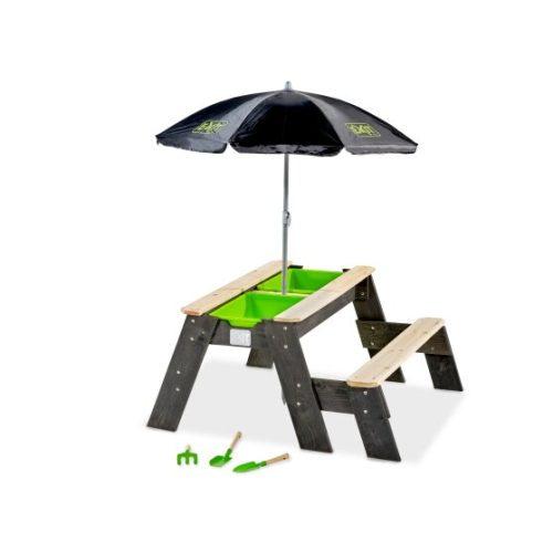 Sand Wasser Und Picknicktisch Von EXIT Toys EXIT Aksent Mit Sonnenschirm Gartenwerkzeugen 1 Bank Grau 94x94cm Bei Serag AG 1