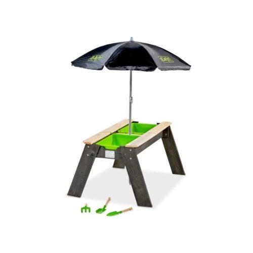 Sand Und Wassertisch Von EXIT Toys EXIT Aksent Mit Sonnenschirm Gartenwerkzeugen Grau 69x94cm Bei Serag AG 1